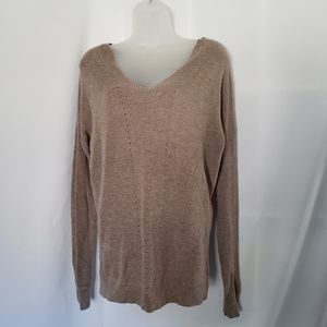 FATE. Tan Knit V neck Pullover Sweater